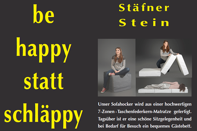 Metanoia Plakatkampagne Sofahocker Stäfer Stein